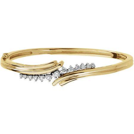 White Diamond Bracelet in 14 Karat Yellow Gold & White 0.50 Carat Diamond Bangle Bracelet