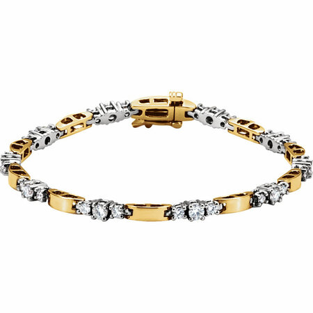 White Diamond Bracelet in 14 Karat Yellow Gold & White 0.75 Carat Diamond Line Bracelet