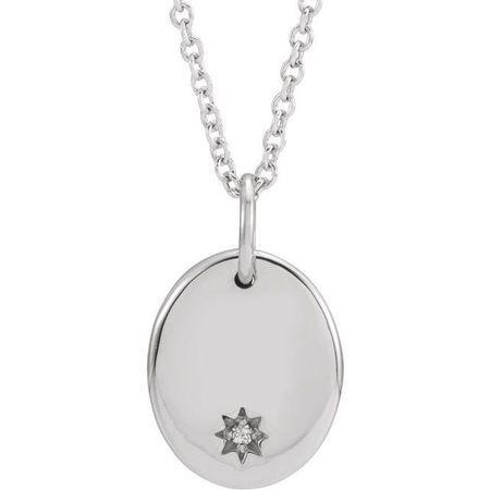 Natural Diamond Necklace in 14 Karat Natural Gold .005 Carat Diamond Starburst 16-18
