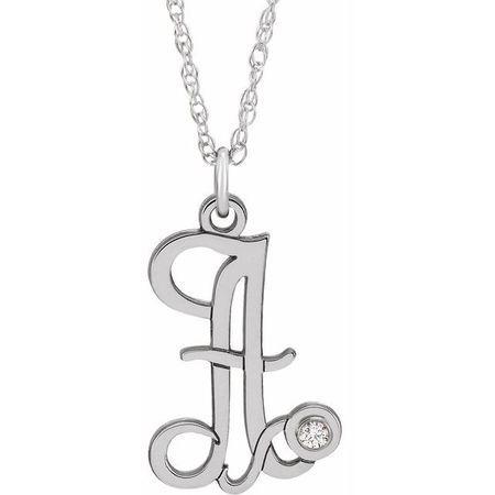 Natural Diamond Necklace in 14 Karat Natural Gold .02 Carat Diamond Script Initial A 16-18