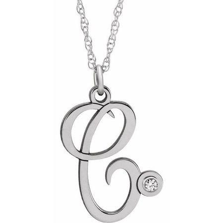 Natural Diamond Necklace in 14 Karat Natural Gold .02 Carat Diamond Script Initial C 16-18
