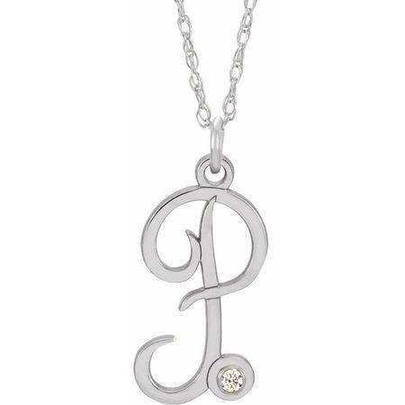 Natural Diamond Necklace in 14 Karat Natural Gold .02 Carat Diamond Script Initial P 16-18