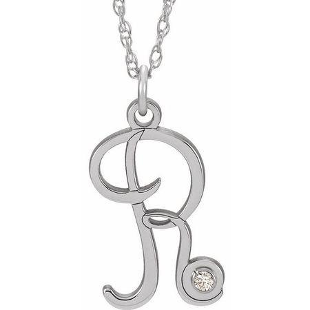 Natural Diamond Necklace in 14 Karat Natural Gold .02 Carat Diamond Script Initial R 16-18