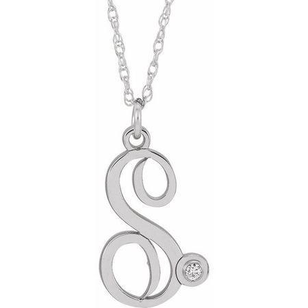 Natural Diamond Necklace in 14 Karat Natural Gold .02 Carat Diamond Script Initial S 16-18