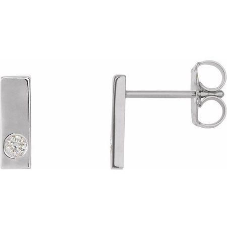 White Diamond Earrings in 14 Karat White Gold .06 Carat Diamond Bar Earrings