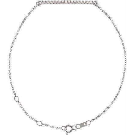 White Diamond Bracelet in 14 Karat White Gold .07 Carat Diamond Bar 6 1/2-71/2