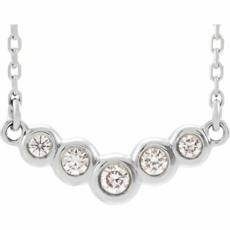 Genuine Diamond Necklace in 14 Karat Genuine Gold 1/10 Carat Diamond Bezel-Set V 16