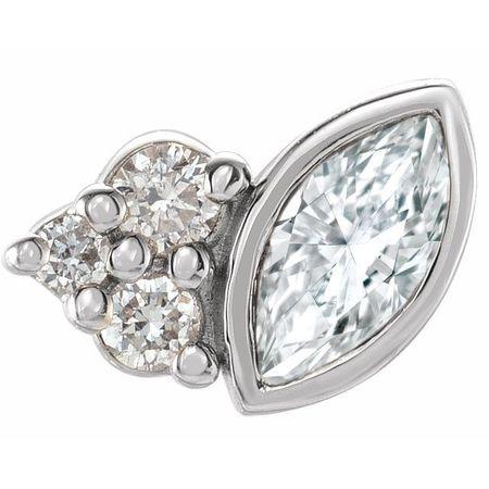 White Diamond Earrings in 14 Karat White Gold 1/10 Carat Diamond Right Earring
