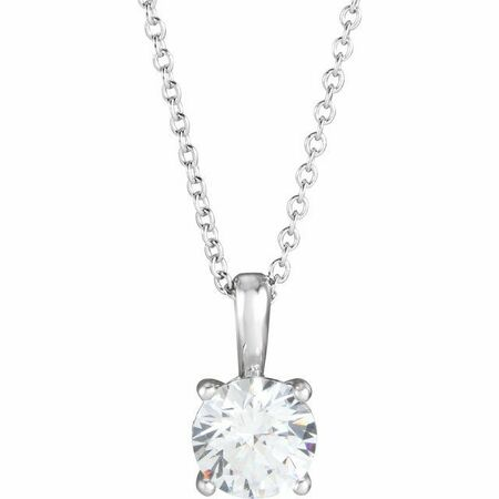 White Diamond Necklace in 14 Karat White Gold 1/2 Carat Diamond 16-18