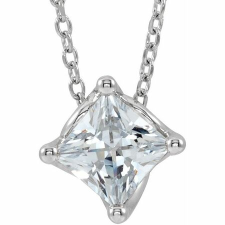 White Diamond Necklace in 14 Karat White Gold 1/2 Carat Diamond Solitaire 16-18