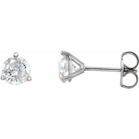 White Diamond Earrings in 14 Karat White Gold 1/2 Carat Diamond 3-Prong Earrings - VS F+