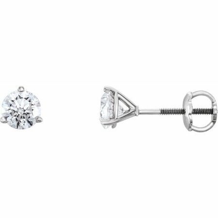 White Diamond Earrings in 14 Karat White Gold 1/2 Carat Diamond Earrings