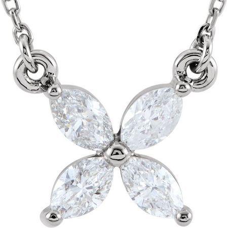 White Diamond Necklace in 14 Karat White Gold 1/2 Carat Diamond Floral-Inspired 18