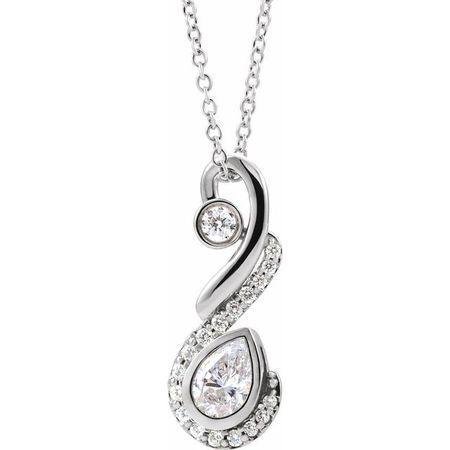 White Diamond Necklace in 14 Karat White Gold 1/2 Carat Diamond Freeform Necklace