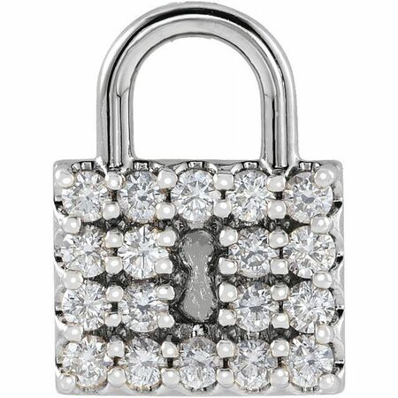 White Diamond Pendant in 14 Karat White Gold 1/2 Carat Diamond Lock Pendant