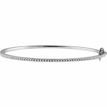 White Diamond Bracelet in 14 Karat White Gold 1/2 Carat Diamond Pave 7