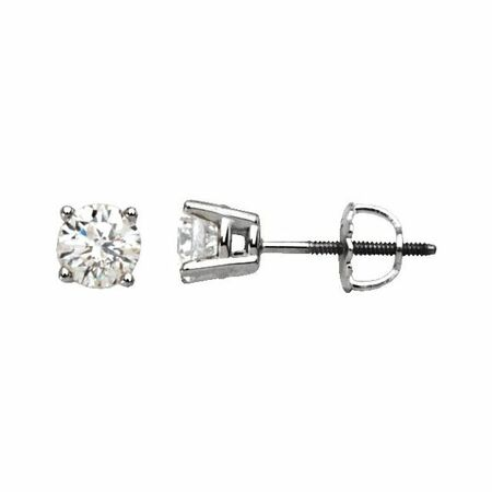 White Diamond Earrings in 14 Karat White Gold 1/2 Carat Diamond Stud Earrings