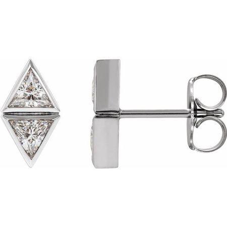 White Diamond Earrings in 14 Karat White Gold 1 3/8 Carat DiamondTwo-Stone Bezel-Set Earrings