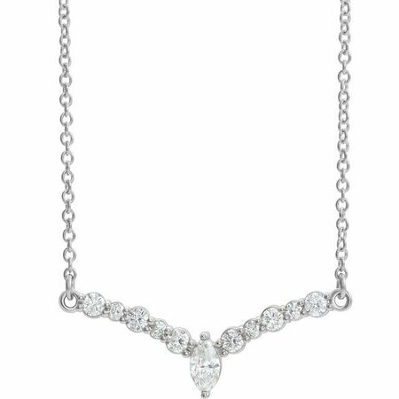 White Diamond Necklace in 14 Karat White Gold 1/3 Carat Diamond 16
