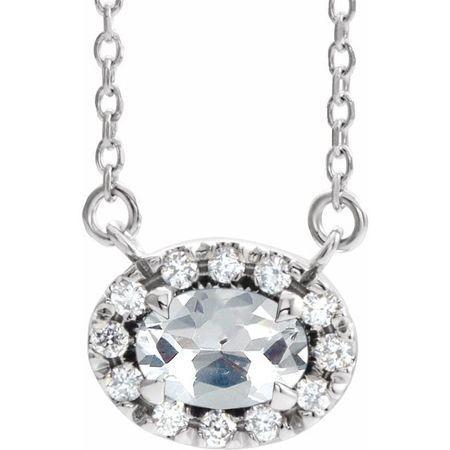 White Diamond Necklace in 14 Karat White Gold 1/3 Carat Diamond 18