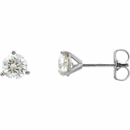 White Diamond Earrings in 14 Karat White Gold 1/3 Carat Diamond 3-Prong Earrings - VS F+