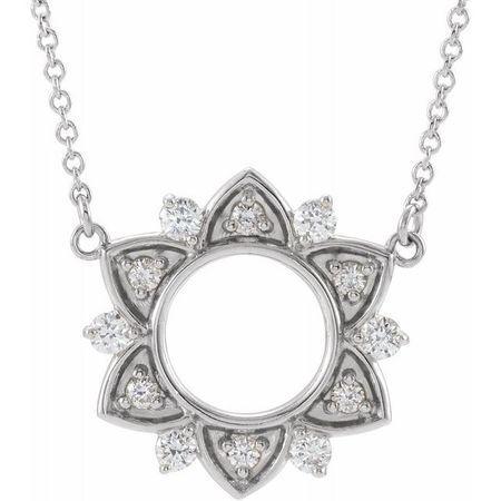 Genuine Diamond Necklace in 14 Karat Genuine Gold 1/3 Carat Diamond Accented 18