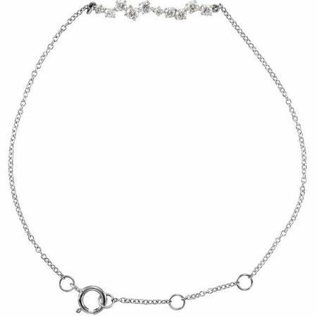 White Diamond Bracelet in 14 Karat White Gold 1/3 Carat Diamond Bar 7