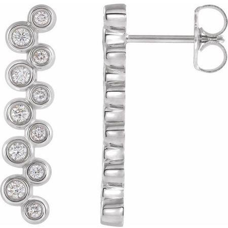 White Diamond Earrings in 14 Karat White Gold 1/3 Carat Diamond Bezel-Set Bar Earrings