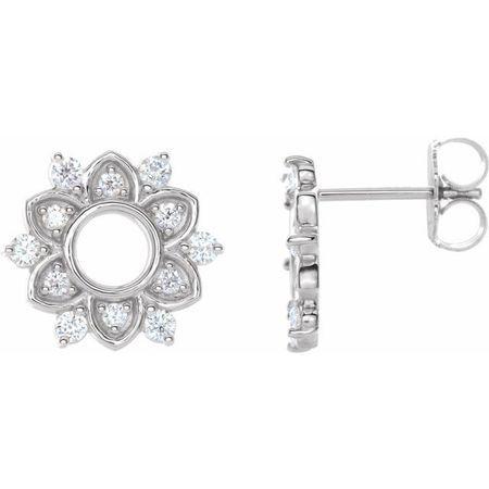 White Diamond Earrings in 14 Karat White Gold 1/3 Carat Diamond Earrings