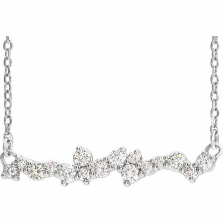 White Diamond Necklace in 14 Karat White Gold 1/3 Carat Diamond Scattered 16
