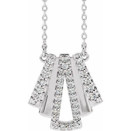 Genuine Diamond Necklace in 14 Karat Genuine Gold 1/4 Carat Diamond Art Deco 18