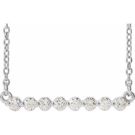 Genuine Diamond Necklace in 14 Karat Genuine Gold 1/4 Carat Diamond Bar 18