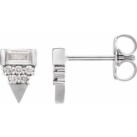 White Diamond Earrings in 14 Karat White Gold 1/4 Carat Diamond Geometric Earrings
