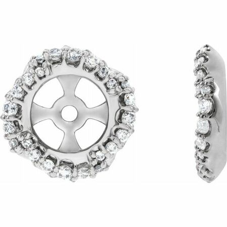 White Diamond Earrings in 14 Karat White Gold 1/4 Carat Diamond Halo-Style Earring Jackets with 5.7 mm ID