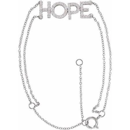 White Diamond Bracelet in 14 Karat White Gold 1/4 Carat Diamond Hope 5-7