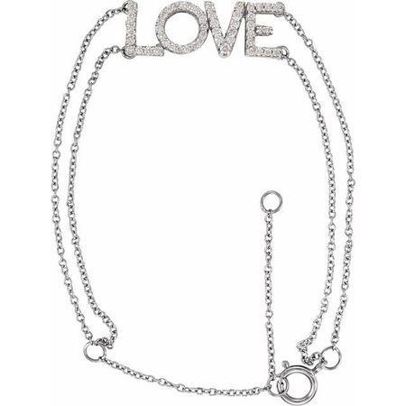 White Diamond Bracelet in 14 Karat White Gold 1/4 Diamond Love 5-7