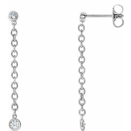 White Diamond Earrings in 14 Karat White Gold 1/5 Carat Diamond Bezel Set ChaEarrings