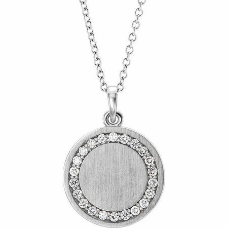 White Diamond Necklace in 14 Karat White Gold 1/5 Carat Diamond Engravable 16-18