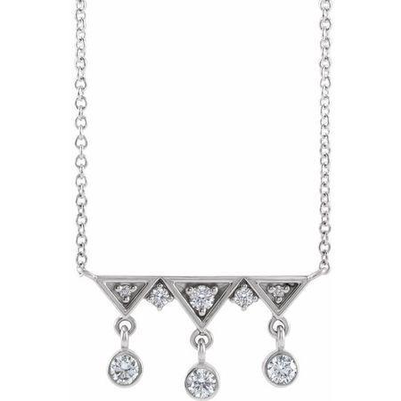 Genuine Diamond Necklace in 14 Karat Genuine Gold 1/5 Carat Diamond Fringe Bar 16