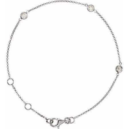 White Diamond Bracelet in 14 Karat White Gold 1/6 Carat Diamond Bezel-Set 3-Station Bracelet