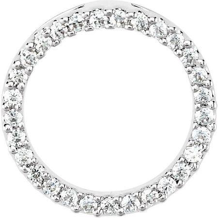White Diamond Pendant in 14 Karat White Gold 1/6 Carat Diamond Circle Pendant VS, F+