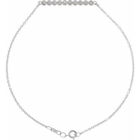 White Diamond Bracelet in 14 Karat White Gold 1/8 Carat Diamond Bar 6 1/2-7 1/2