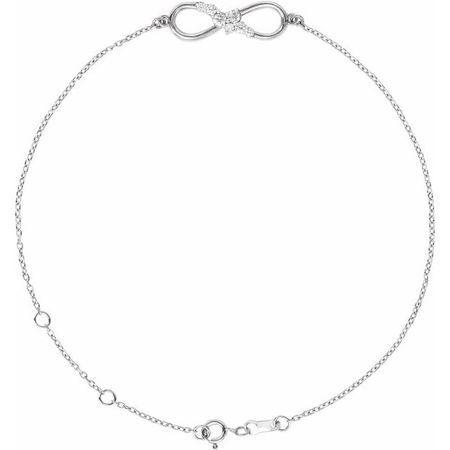 White Diamond Bracelet in 14 Karat White Gold 1/8 Carat Diamond Infinity 6 1/2-7 1/2