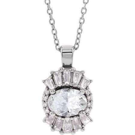 White Diamond Necklace in 14 Karat White Gold 1 Carat Diamond 16-18