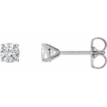 White Diamond Earrings in 14 Karat White Gold 1 Carat Diamond 4-Prong CocKaratail-Style Earrings