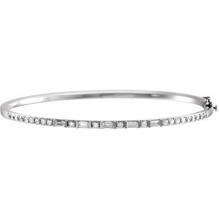 White Diamond Bracelet in 14 Karat White Gold 1 Carat Diamond 7