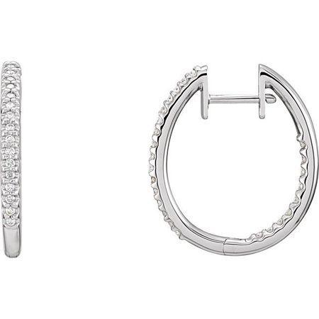 White Diamond Earrings in 14 Karat White Gold 1 Carat Diamond Inside-Outside Hinged 27.8 mm Hoop Earrings