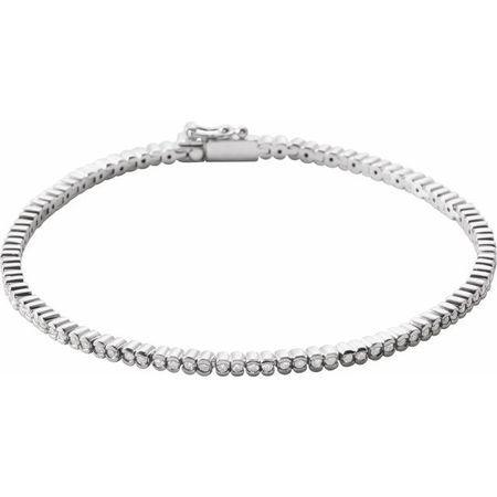 White Diamond Bracelet in 14 Karat White Gold 1 Carat Diamond Line 7