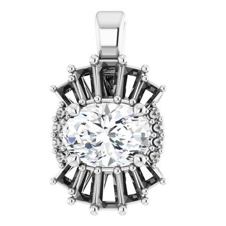 Diamond Pendant in 14 Karat White Gold 1 Carat Diamond Pendant