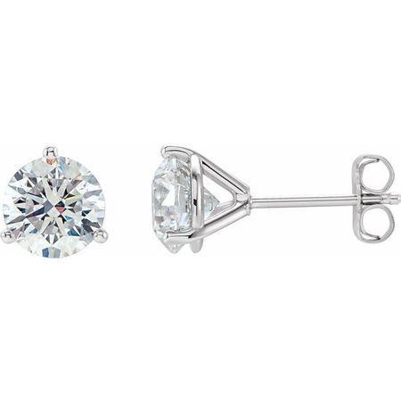 White Diamond Earrings in 14 Karat White Gold 1 Carat Diamond Stud Earrings